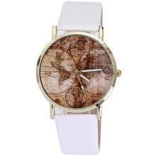 Load image into Gallery viewer, GENVIVIA Fashion Women's World Map Leather Band Analog Quartz Wrist Watch Watches Montres Femmes