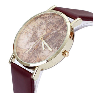 GENVIVIA Fashion Women's World Map Leather Band Analog Quartz Wrist Watch Watches Montres Femmes