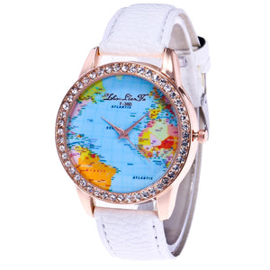 Women's World Map Quartz Leather Analogue Wrist  Watch Round Case Watch
