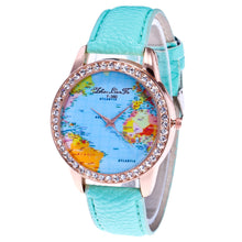 Load image into Gallery viewer, Women's World Map Quartz Leather Analogue Wrist  Watch Round Case Watch