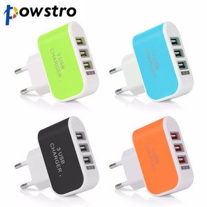 POWSTRO 3 USB Port Micro USB Charger Charging Adapter HUB
