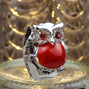 New Hot Creative Fashion Retro Owl Finger Watch Clamshell Ring Watch