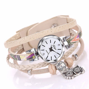 Women's Fine Leather Band Winding Analog Quartz Movement Wrist Watch