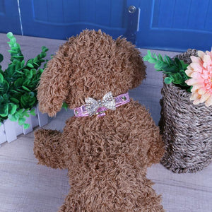 Soft, Leather Dog Collar Bling Crystal Bow