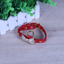 Load image into Gallery viewer, Soft, Leather Dog Collar Bling Crystal Bow