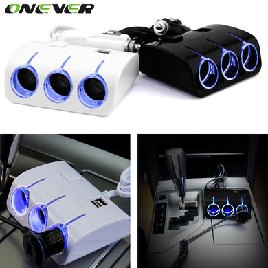 Onever 1 to 3 Car Cigarette Lighter Plug Power Adapter