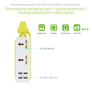UK/EU/US Plug 4 USB Portable Travel Extension Socket Wall Charger
