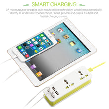 Load image into Gallery viewer, UK/EU/US Plug 4 USB Portable Travel Extension Socket Wall Charger