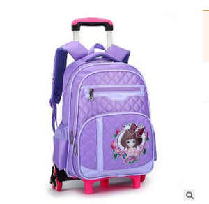 Girl's 6-Wheeled Travel Backpack/Luggage with Removable Trolley