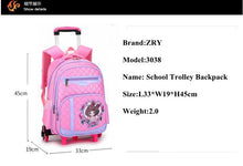 Load image into Gallery viewer, Girl's 6-Wheeled Travel Backpack/Luggage with Removable Trolley