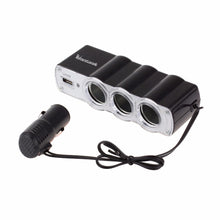 Load image into Gallery viewer, USB Port 3 Way Car Cigarette Lighter Socket Splitter Charger