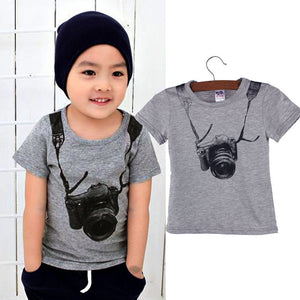 "Kids Summer Camera Short Sleeve ""O""-Neck Shirt"