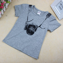 "Load image into Gallery viewer, Kids Summer Camera Short Sleeve ""O""-Neck Shirt"