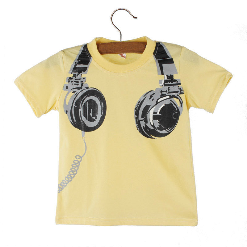 Kids Summer Casual Headphone Graphic, Short-Sleeve Top, Shirt Tees Clothes