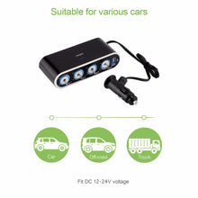 Load image into Gallery viewer, USB Port 4 Way Auto Car Cigarette Lighter Socket Splitter DC 12~24V