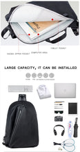 Load image into Gallery viewer, USB Charge Shoulder/Back/Chest Pack; Single Shoulder, 14-inch Laptop Back Bag Crossbody College Bag