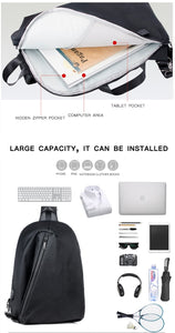 USB Charge Shoulder/Back/Chest Pack; Single Shoulder, 14-inch Laptop Back Bag Crossbody College Bag