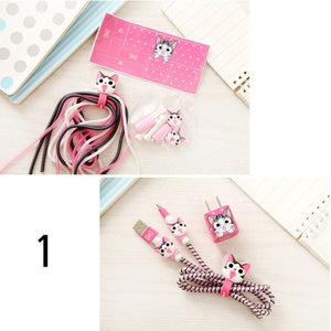 Hello Kitty-Like Cartoon Spiral Phone USB Data Sync, Charging Cable Wrap Protector Winder