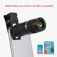 Load image into Gallery viewer, Universal Clip 12X Zoom Cell Phone Optical Telescope Lens Telephoto Lens