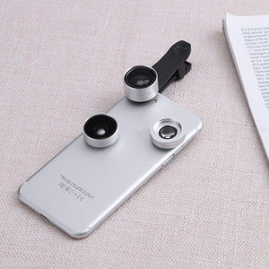 Universal 3-in-1 Cell Phone Fisheye + Wide Angle + Macro Lens Kit