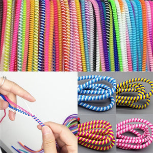 Spiral USB Data Charger Cable Cord Protector Wrap Cable DIY Winder For Phone 60cm