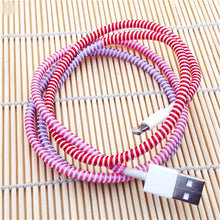 Load image into Gallery viewer, Spiral USB Data Charger Cable Cord Protector Wrap Cable DIY Winder For Phone 60cm