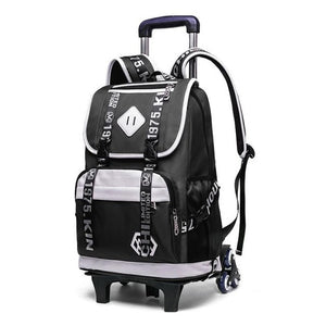 School BackPack on SIX Stair-Climbing Wheels, Waterproof Rolling BackPack
