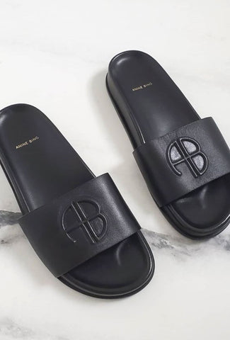 Anine Bing Carson Slides - Black Accessories Anine Bing