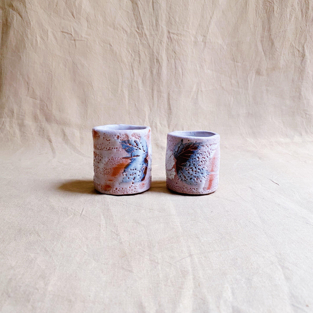 Handmade Japanese Cups (Pair) - White Shino Glaze