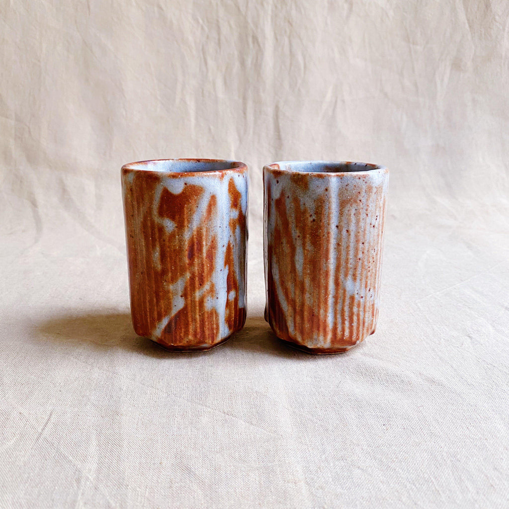Handmade Japanese Cups (Pair) - Brown Shino Glaze