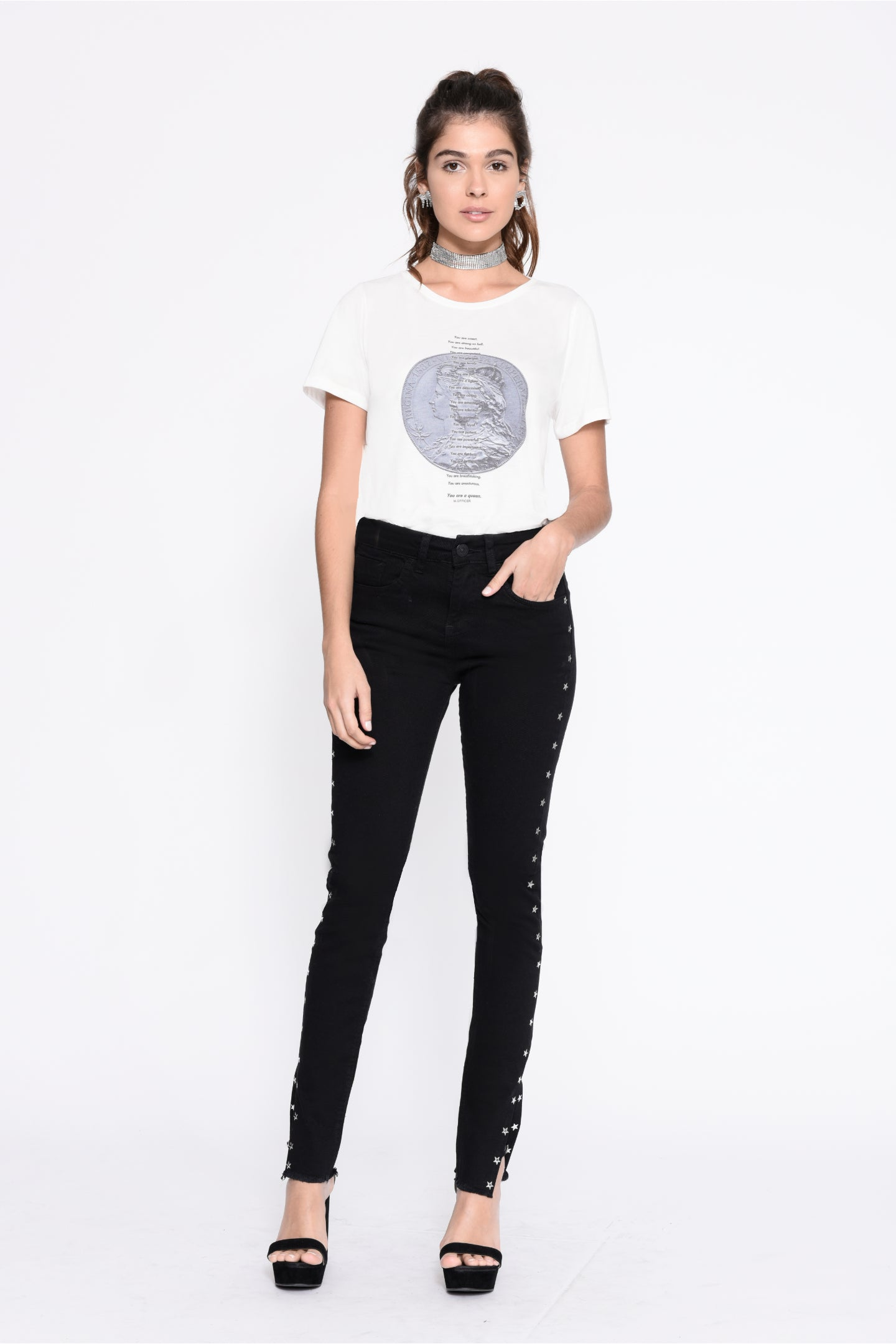 CALÇA JEANS SUPER SKINNY C4 BLACK STAR