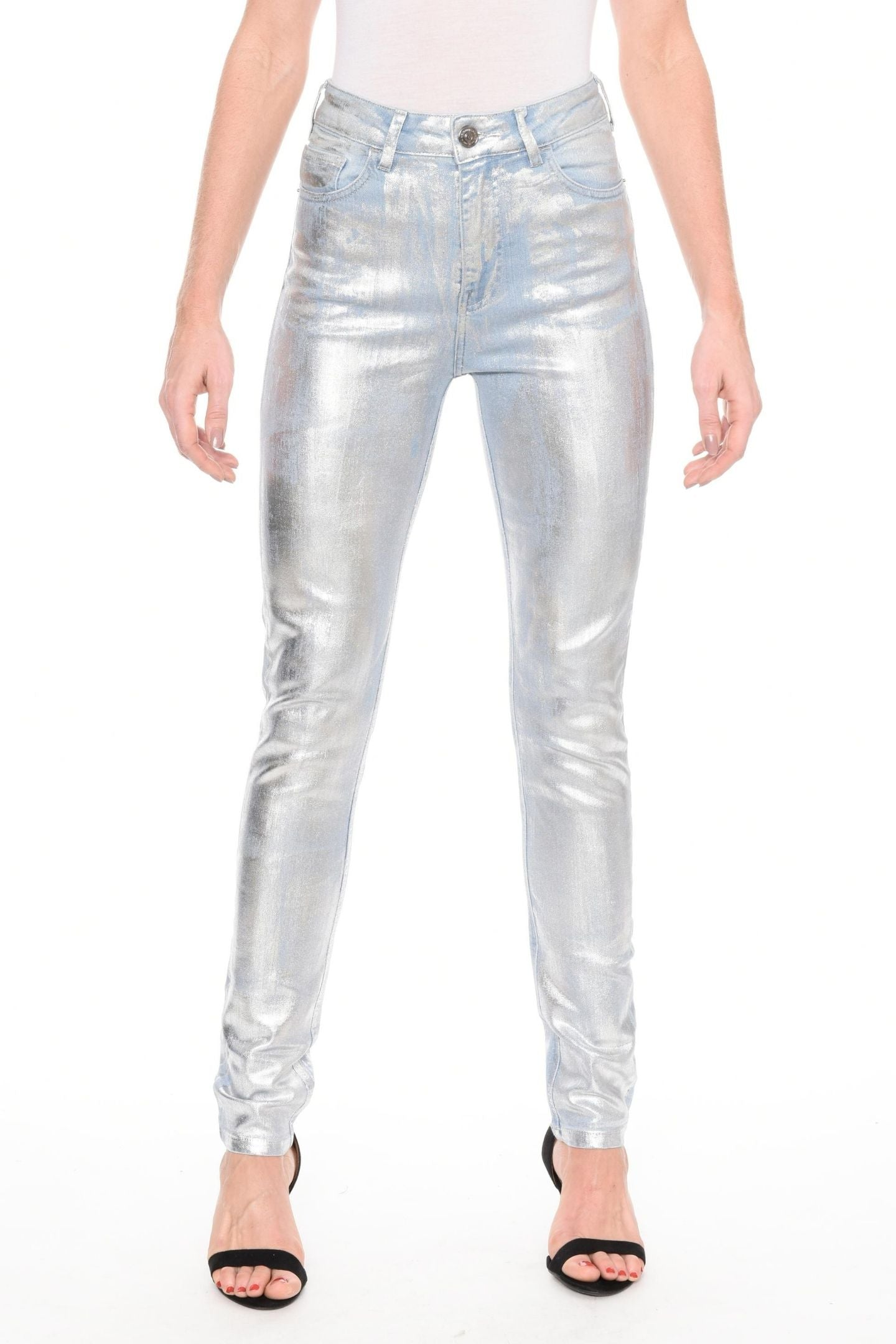 CALÇA JEANS SKINNY C4 LIGHT BLUE FOIL