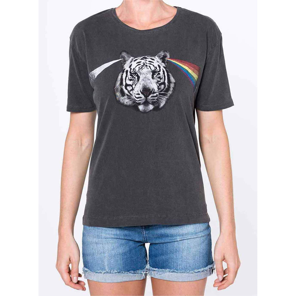 T-shirt estonada com estampa frontal de tigre
