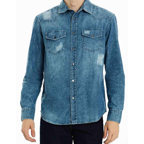 CAMISA JEANS DESTROYED BLUE WASH