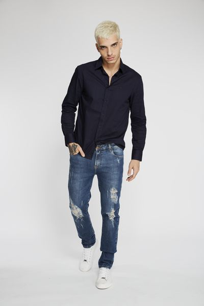 CALÇA JEANS PREMIUM SLIM DIRTY BLUE