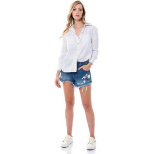 SHORTS JEANS BLUE WASH COM SILK