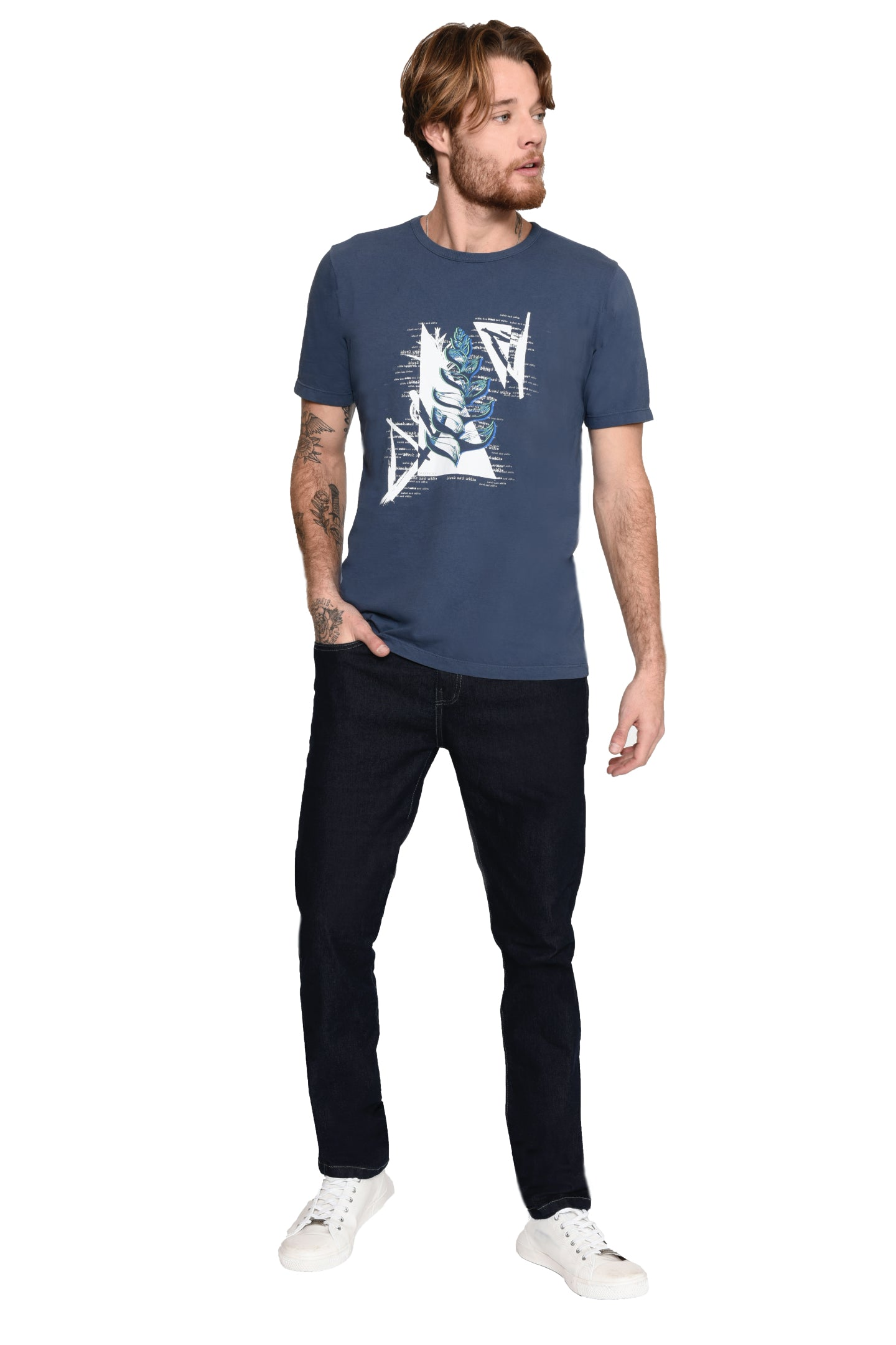 CAMISETA SLIM M/C GOLA SILK BLACK WHITE