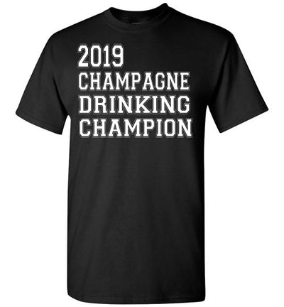 SportsMarket Premium Clothing Line-St. Paddy's Day Tshirt-2019 Champagne Drinking Champion-Tshirt-Teescape-Black-S-SportsMarkets