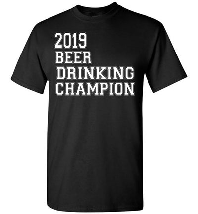 SportsMarket Premium Clothing Line-St. Paddy's Day Tshirt-2019 Beer Drinking Champion-Tshirt-Teescape-Black-S-SportsMarkets
