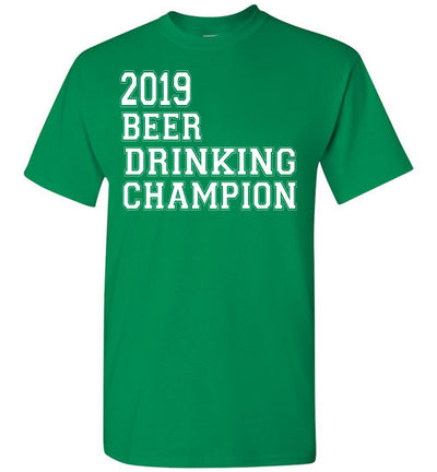 SportsMarket Premium Clothing Line-St. Paddy's Day Tshirt-2019 Beer Drinking Champion-Tshirt-Teescape-Turf Green-S-SportsMarkets