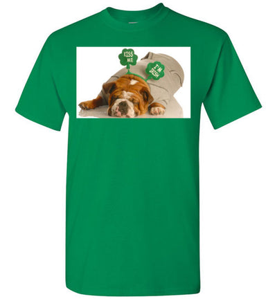 SportsMarket Premium Clothing Line-St. Paddy's Day-Dog Kiss Me Tshirt-Tshirt-SportsMarkets-Turf Green-S-SportsMarkets