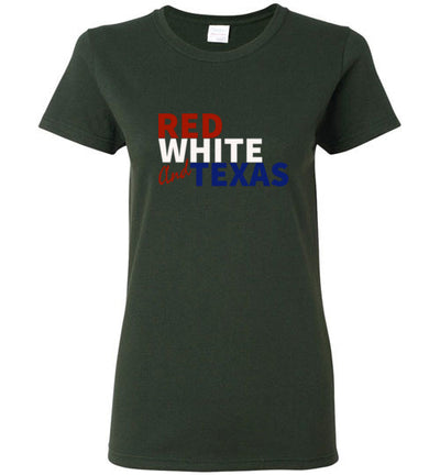 SPORTSMARKET PREMIUM CLOTHING LINE-RED WHITE & TX LADIES TSHIRT
