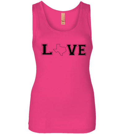 SportsMarket Premium Clothing Line-Love Texas Ladies Outlined Everyday Use Tank
