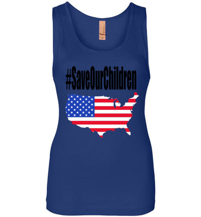 SportsMarket Premium Clothing Line-#SaveOurChildren America Ladies Next Level Tank