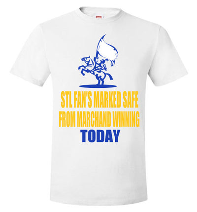 SportsMarket Premium Clothing Line-STL Fans Marked Safe Playoff Hockey Tshirt