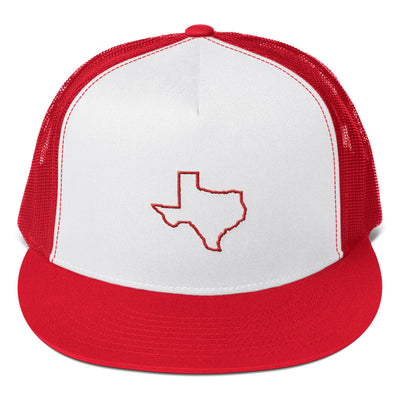 SportsMarket Premium Clothing Line-Texas Outline Five Panel Trucker Cap