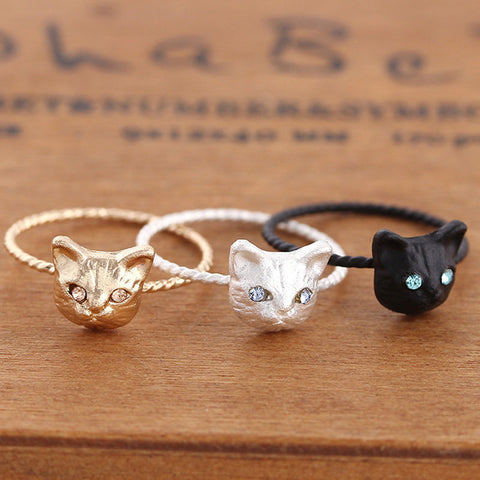 Rhinestone Cat Ring - Lunani's Fashion Book | Fashionable and reasonable dresses and shoes!