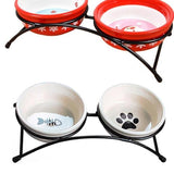 Double Feeding Bowls with Stand