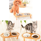 Multi Dish Feeders with Wooden Stand - My Bengal Boy