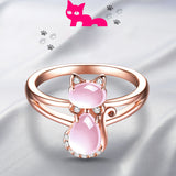 MOONROCY Drop Shipping Rose Gold Color Cute Cat Animal CZ Ross Quartz Crystal Pink Opal Rings Jewelry Wholesale for Women Girls - My Bengal Boy